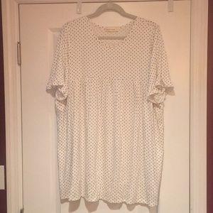 Polka dot ruffle sleeve T-shirt
